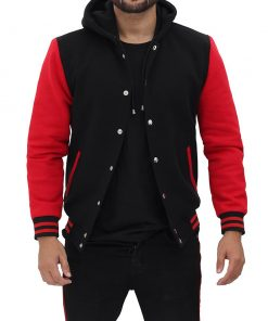 Black Letterman Jacket with Hood