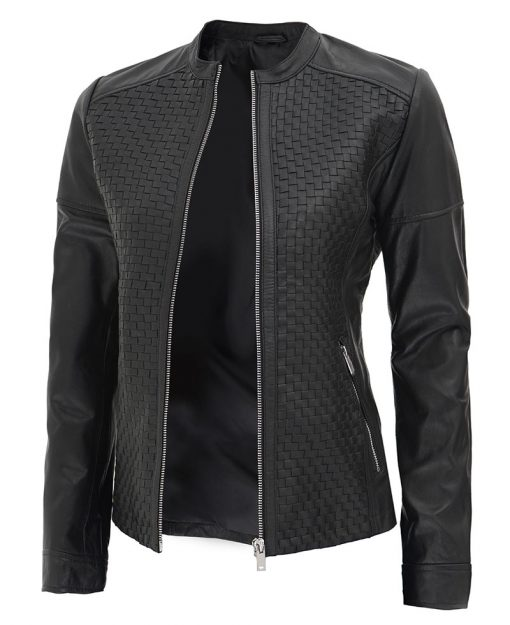 Black Textured Leather Jacket womens