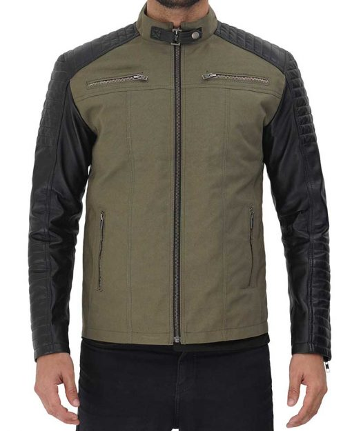 Black and Green Cotton Leather Jacket