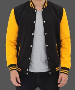 Black and Yellow Varsity Jacket men