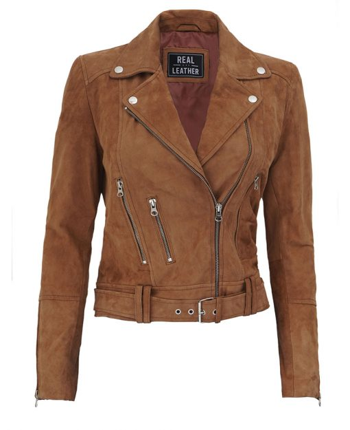Brown Suede Leather Jacket womens