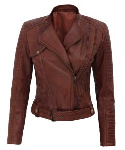 Brown cropped leather jacket womens