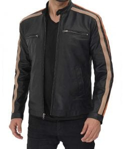 Cafe Racer Leather Jacket with Striped Sleeves