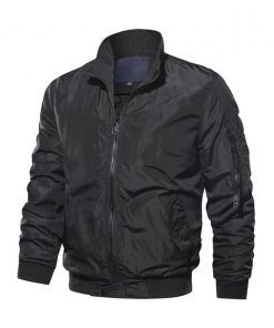 Cotton Black Biker Bomber Jacket Mens
