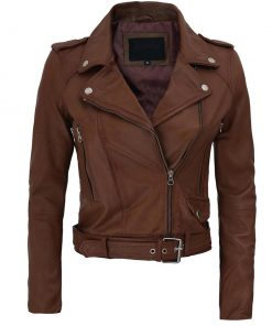 Dark Brown Belted Biker Jacket