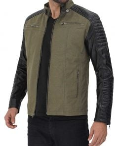 Green Cafe Racer cotton Jacket