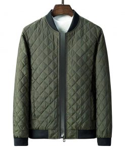 Green Quilted Bomber Jacket Mens