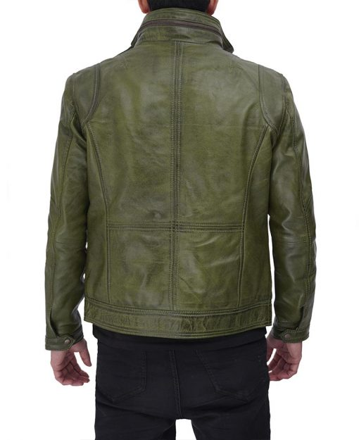 Green Real Leather Jacket Mens