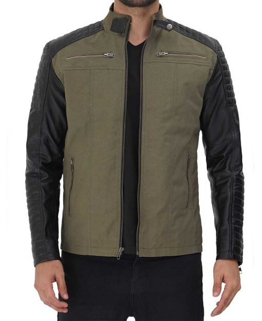 Green and Black mens Leather Jacket