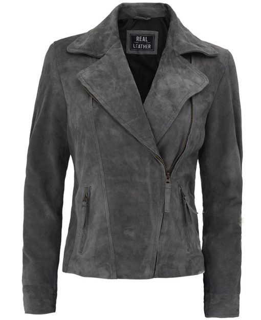 Grey Suede Leather Jacket women
