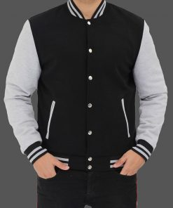 Grey and Black varsity jacket men