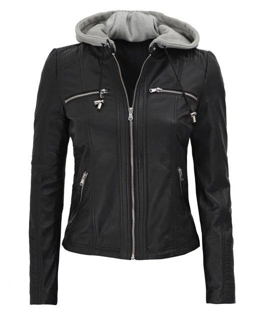 Leather Jacket With Hoodie womens