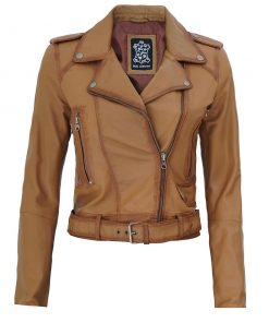 Light Brown Womens Distressed Biker Jacket