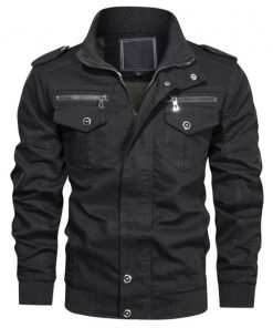 Mens Black Bomber Cotton Jacket