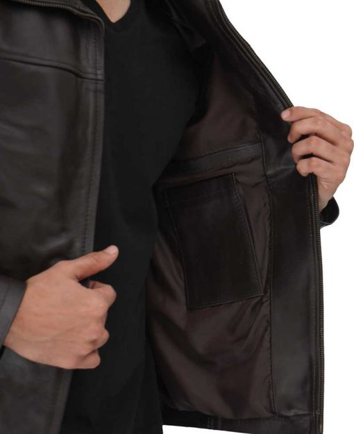 Mens Brown Casual Leather Jacket
