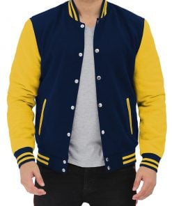 Navy blue and yellow varsity jacket
