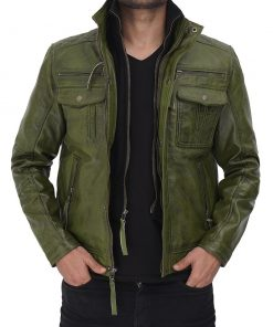 Real Leather Green Biker Jacket