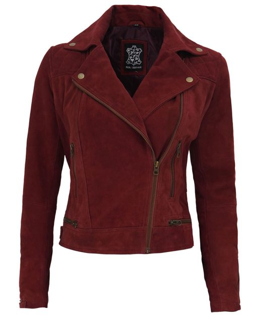 Red Suede Leather Motorcycle Jacket