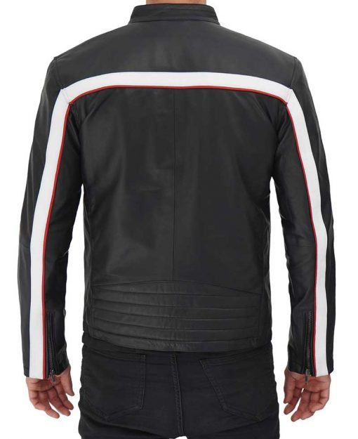 Red and White Striped Leather Jacket