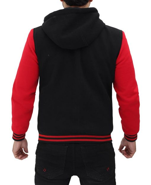 Red and black varsity jacket with hood