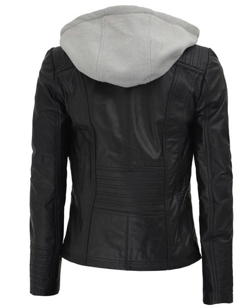 Removable Hooded Leather Jacket black womens