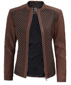 Slim fit Womens Brown Leather Jacket
