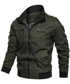 Slimfit mens green cotton bomber jacket