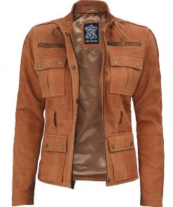 Suede Leather field Jacket Women