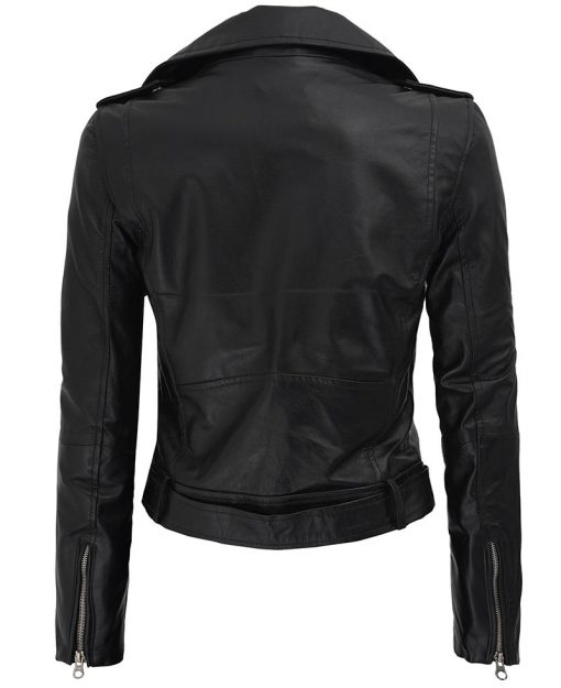 Womens Asymmetrical Cropped Leather Jacket