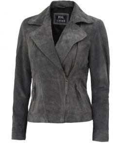 Womens Asymmetrical suede Leather Jacket