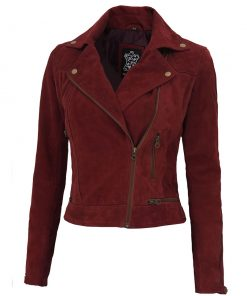 Womens Asymmetrical suede Leather Jacket women