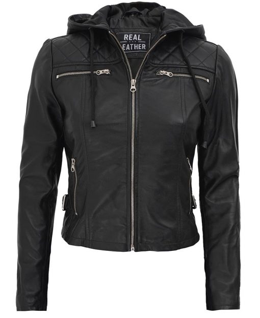 Womens Black Hooded real Leather Jacket