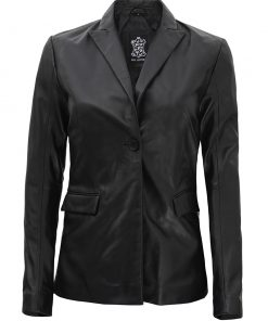 Womens Black Leather Blazer Jacket Long