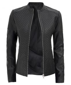 Womens Black Leather slim fit Jacket