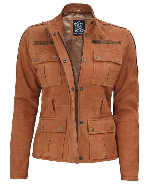 Womens Brown Suede Leather Field Jacket