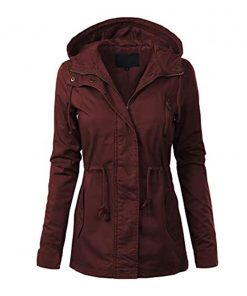 Womens Burgundy Anorak Jacket Cotton
