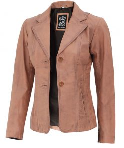 Womens Light Brown Leather Jacket blazer