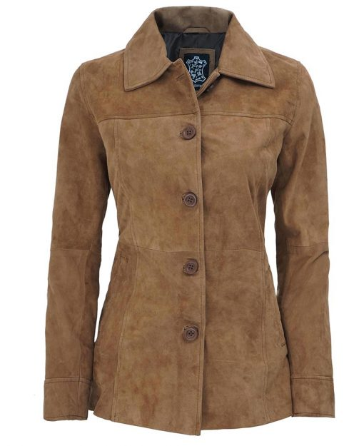 Womens Suede Leather Brown Car Coat