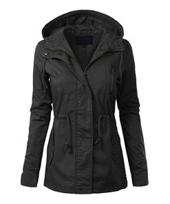 Womens anorak cotton coat black