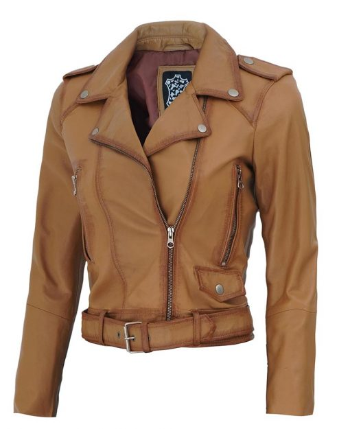 Womens cropped belted distressed leather jacket