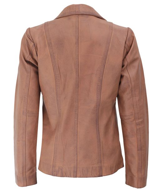 Womens real leather Light Brown Jacket