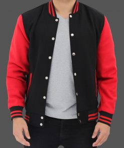 baseball letterman jacket red and black