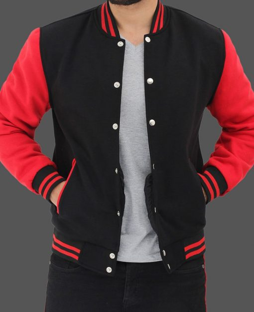 black and red letterman jacket men