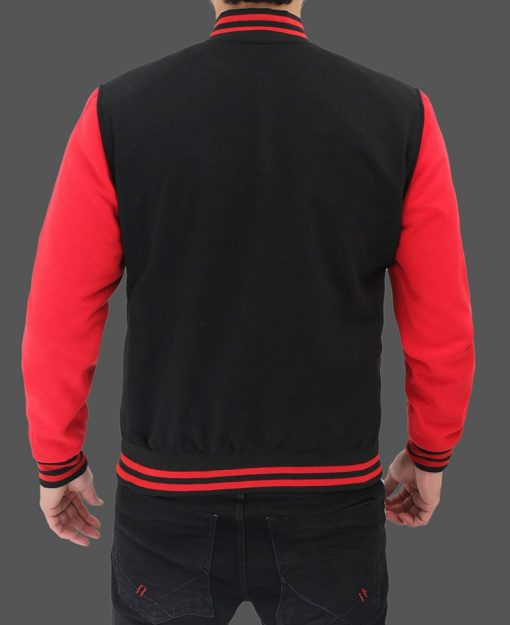 black and red varsity jacket baseball style