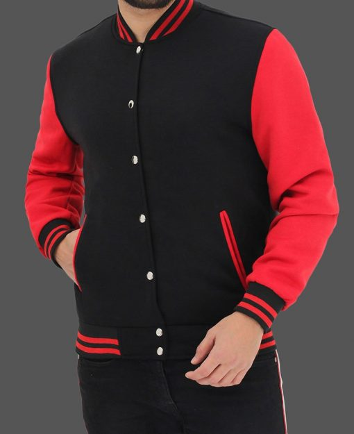 black and red varsity jacket men