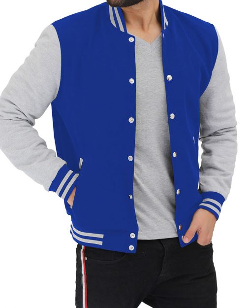 grey and blue letterman jacket