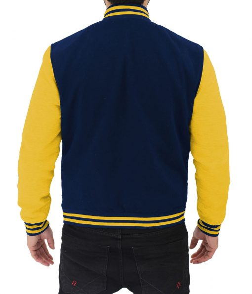 mens letterman blue and yellow