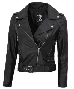 real leather belted cropped leather jacket women
