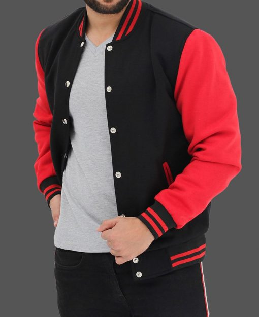 red and black varsity baseball jacket