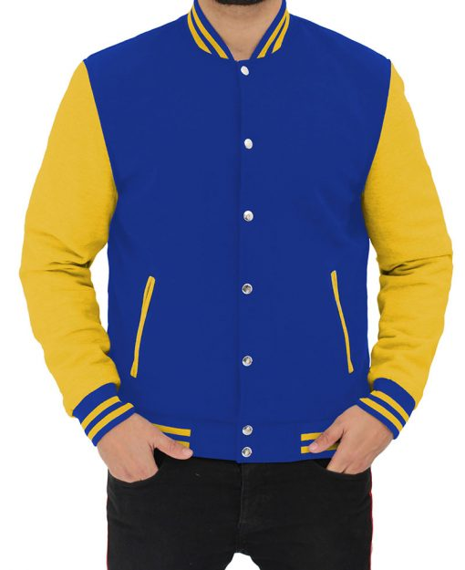 royal blue and yellow baseball jacket